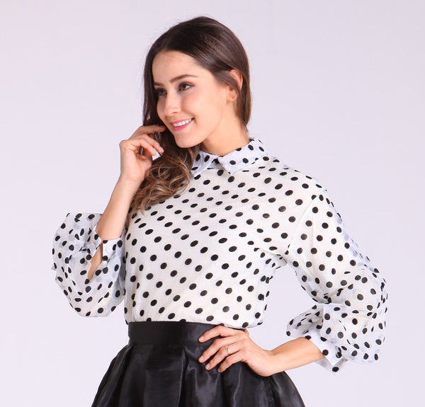 White Long Sleeves with Black Polka Dots