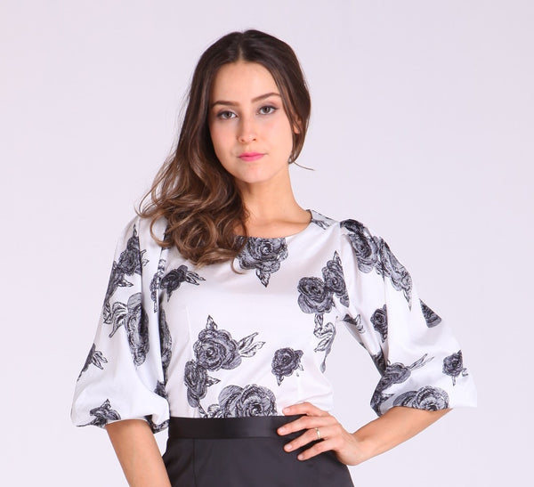 White Long Sleeves with Black Floral Design