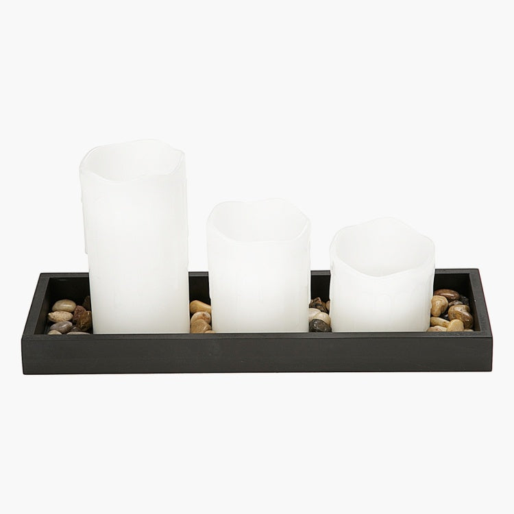 Mood 3-Piece LED Candles with Tray and Pebbles