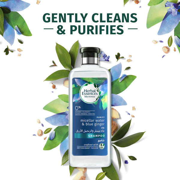 Herbal Essences Bio Renew Purify Micellar Water & Blue Ginger Shampoo 400ml