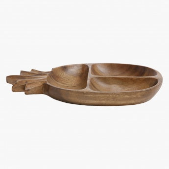 Acacia Wooden 3 Compt. Pineapple Tray