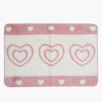 Cute Hearts Printed Bathmat - 60x90 cms