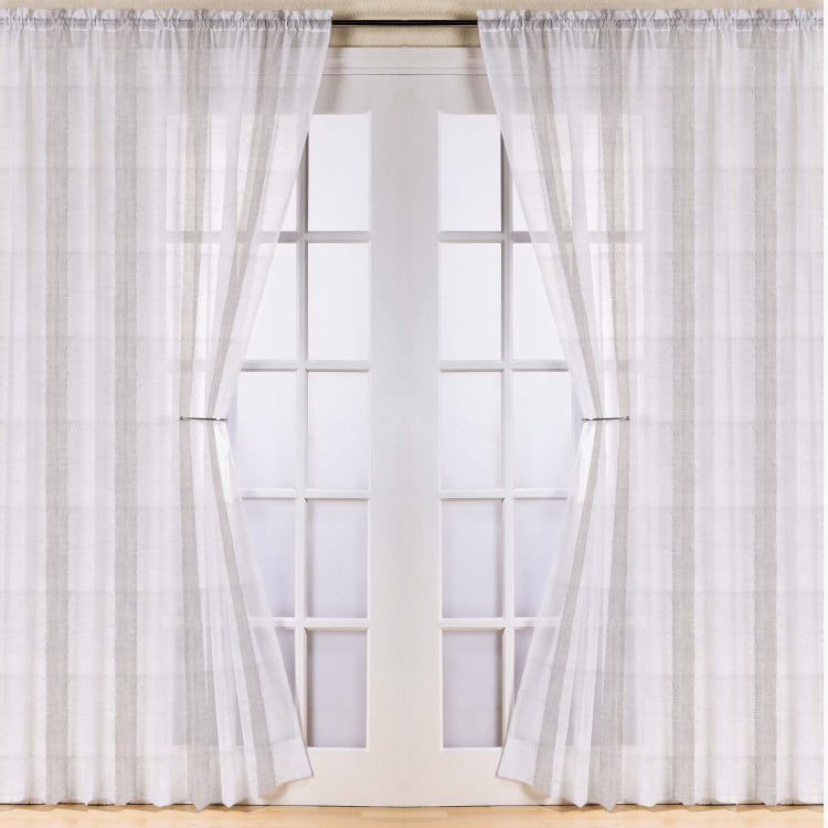 Cafe Striped Sheer 2-Piece Curtain Set - 135x300 cms