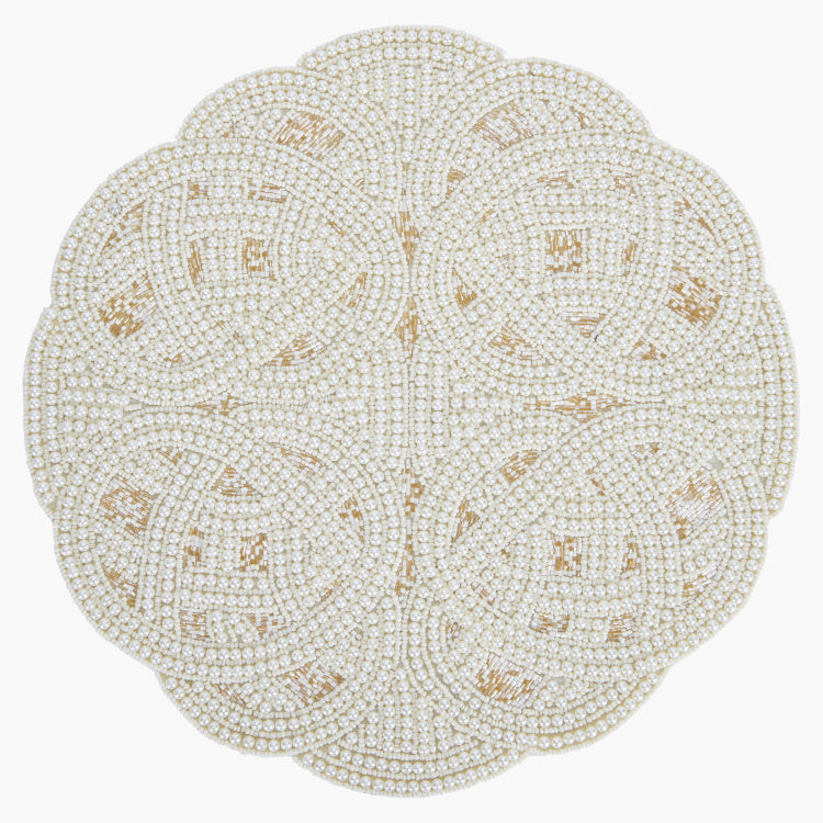 Beaded Placemat with Pearl Detail