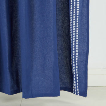 Brian Textured Curtain Pair with Stripe Detail - 140x240 cms