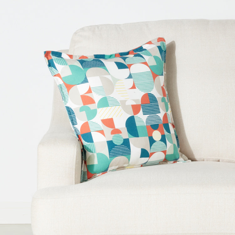 Graphic Collage Printed Cushion Cover