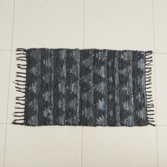 Leather Weave Pattern Rug with Tassels - 60x90 cms