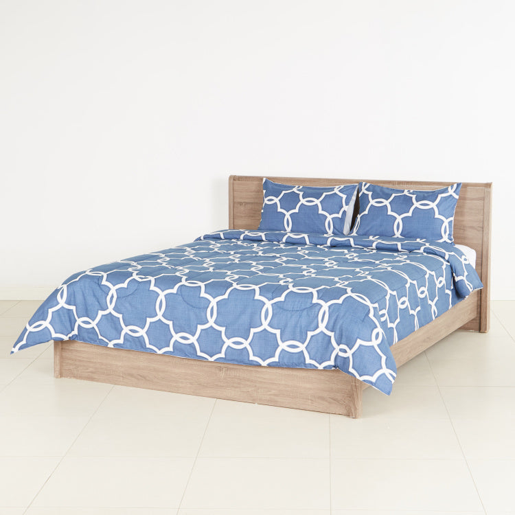 Navy Trellis Printed 3-Piece Super King Comforter Set - 250x260 cms