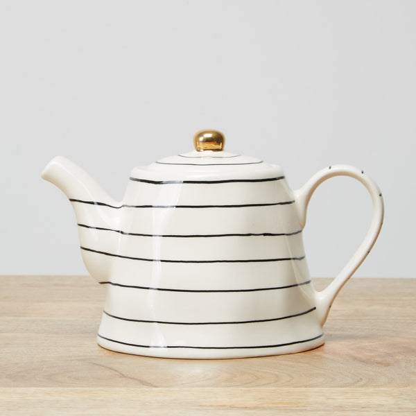 Linear Printed Teapot with Lid