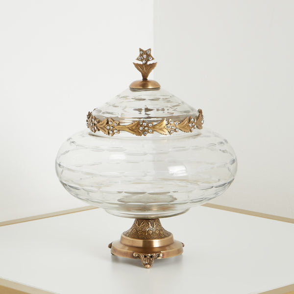 Opulent Decorative Embellished Clear Bowl with Lid
