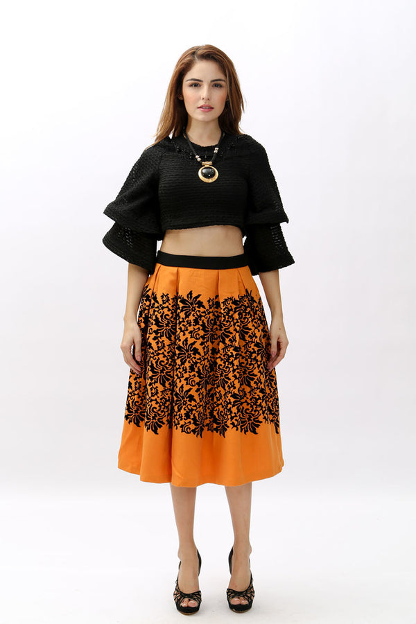 Skirts - Orange with Black Floral Design
