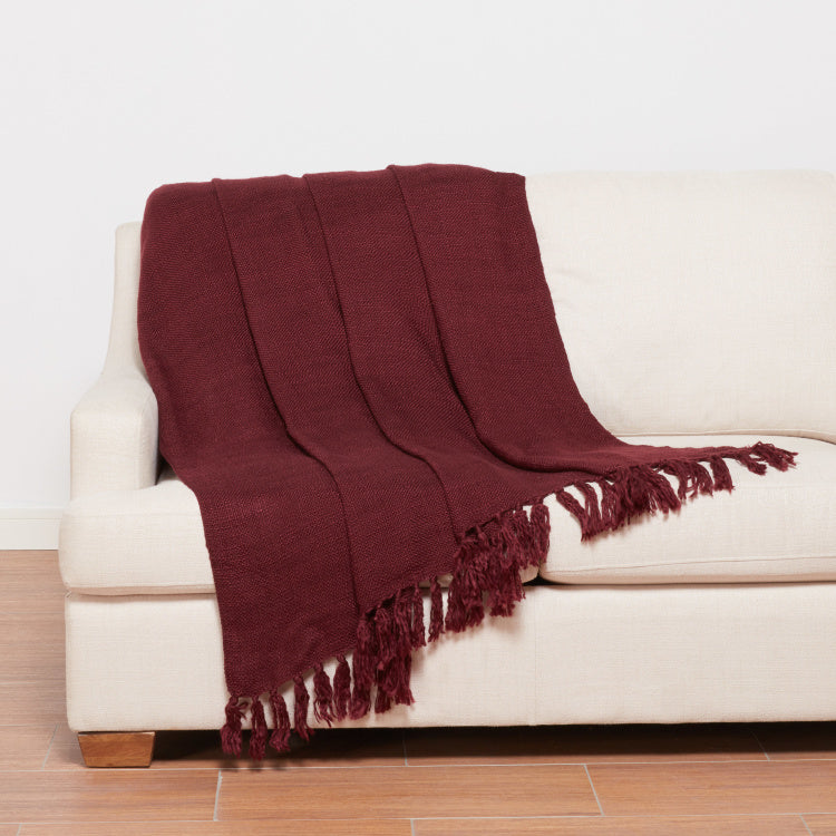 Aysha Textured Throw with Tassels