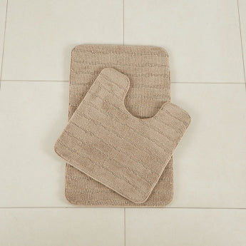 Stripes Memory Foam 2-Piece Bathmat and Contour Set - 50x80 cms