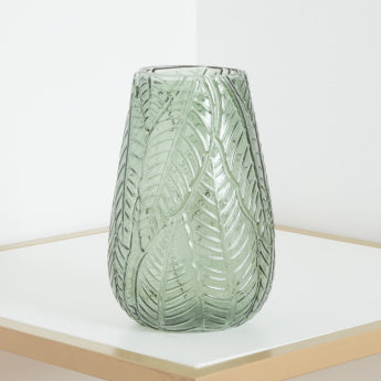 Green Leaf Patterned Large Glass Vase