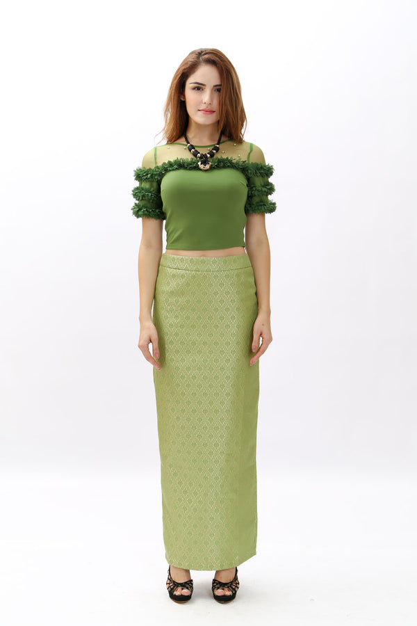 Skirts - Green with Dark Diamond Green Design