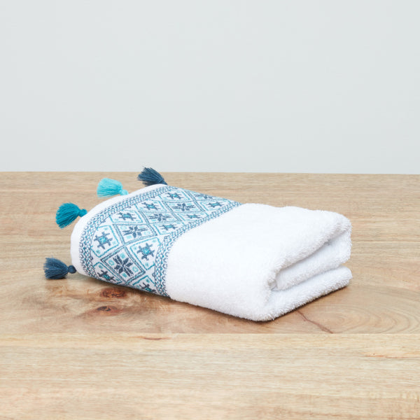 Marrakesh 2-Piece Jacquard Border Hand Towel Set - 90x50 cms