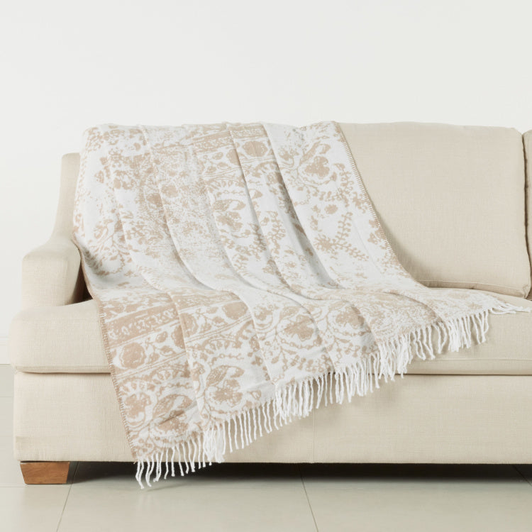 Misbah Printed Blanket with Tasseled Hem