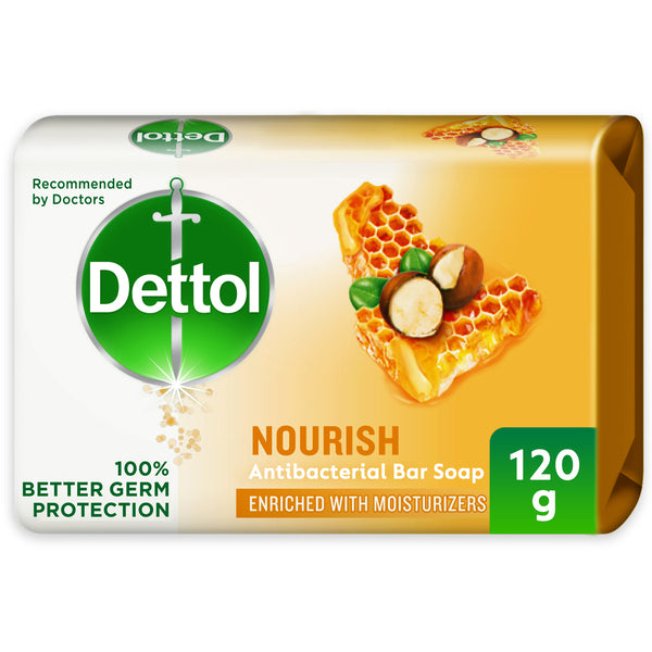 Dettol Nourish Anti-Bacterial Bar Soap Honey & Shea Butter 120g