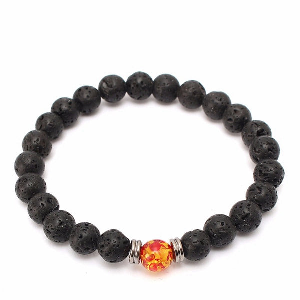 19cm Black Lava Stone Crystal Beads Men Bracelet