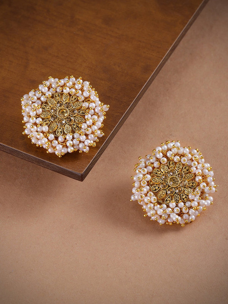 Zaveri Pearls Gold Plating White Color Guttapusalu Pearls Geometric Design Stud Earring