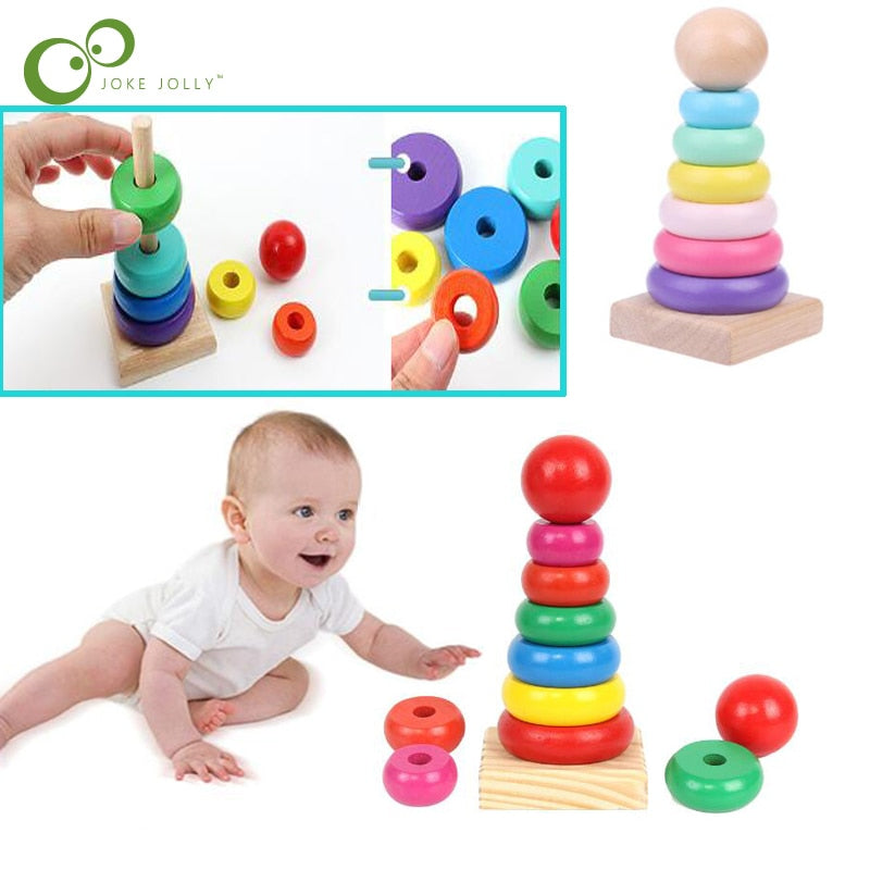 Kids Wooden Rainbow Puzzle Stacking Ring Tower Building Block Toy PV