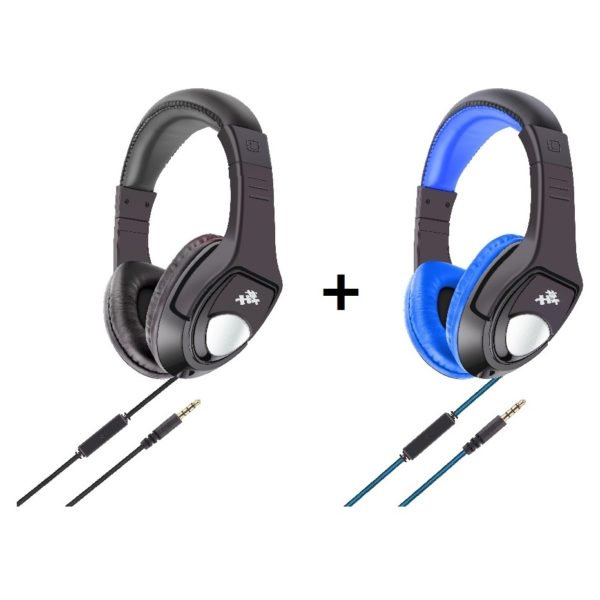 Eklasse EKWHP08BAI Stereo Wired Headphone With Mic Black + EKWHP08BAI Stereo Wired Headphone With Mic Blue
