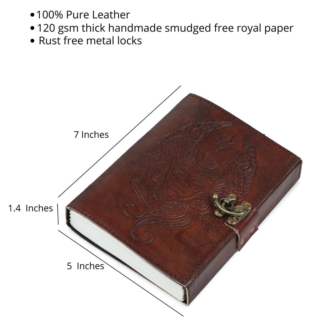 Pedemilan Pure Demon-Angle Embossed Leather Handmade Diary/Journal for Proffesionals & Students. (Size-7x5 inchs, Paper- 120 GSM Leak Proof)