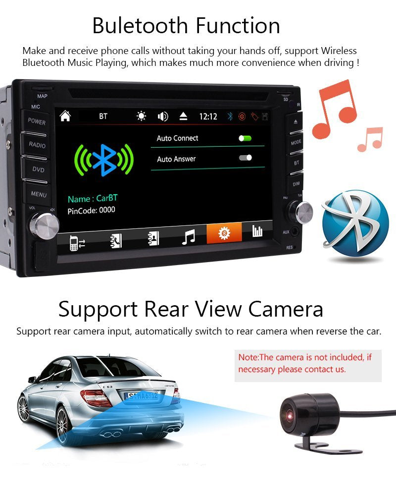 2 din In dash Car stereo DVD CD MP3 Player Radio Video Audio Bluetooth 6.2'' Touch Screen SD,USB, AUX ,Subwoofer,Radio,FM AM RDS