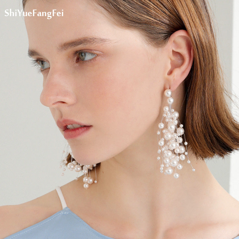2018 Luxury Simulated Pearl Long Earrings For Women Silver Color Dangle Drop Earrings Wedding Jewelry Brincos Orecchini
