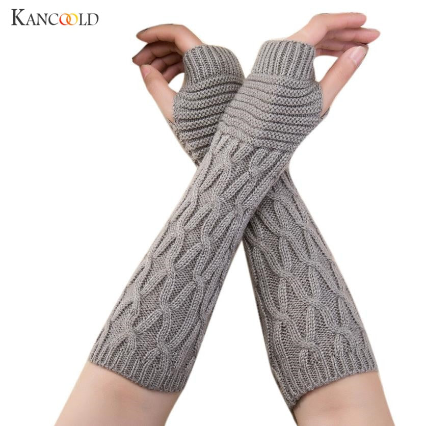 2018 hommes fashion designer 5 Colors Hemp Solid Fingerless Gloves Knitted long gloves Guanti invernali Women Winter no28 P