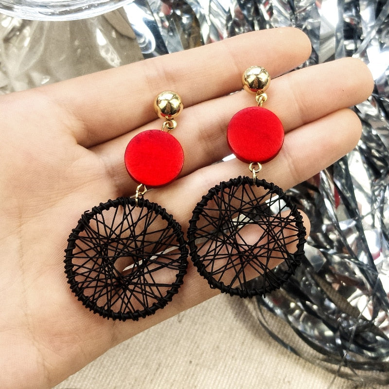 2019 Big Bohemian Earrings Women Big Round Hollow Drop Earrings Fine Jewelry pendientes largos European Fashion Style 1E283