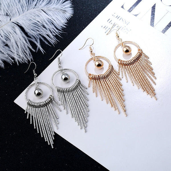 2019 Fashion Big Gold Silver Pearl Drop Earrings Wedding Jewelry Tassel Statement Geometric Long Metal Earrings for Women