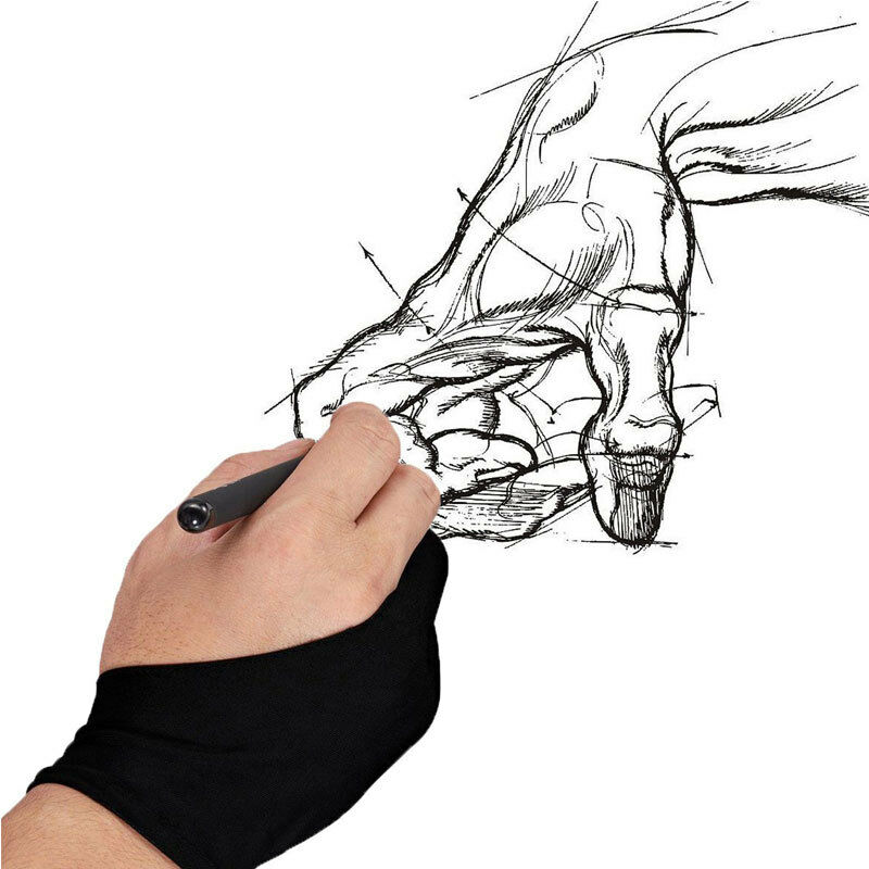 2019 Hirigin 1pc Professional Free Size Two Finger Anti-fouling Artist Glove Solid For Artist Drawing & Pen Graphic Tablet Pad