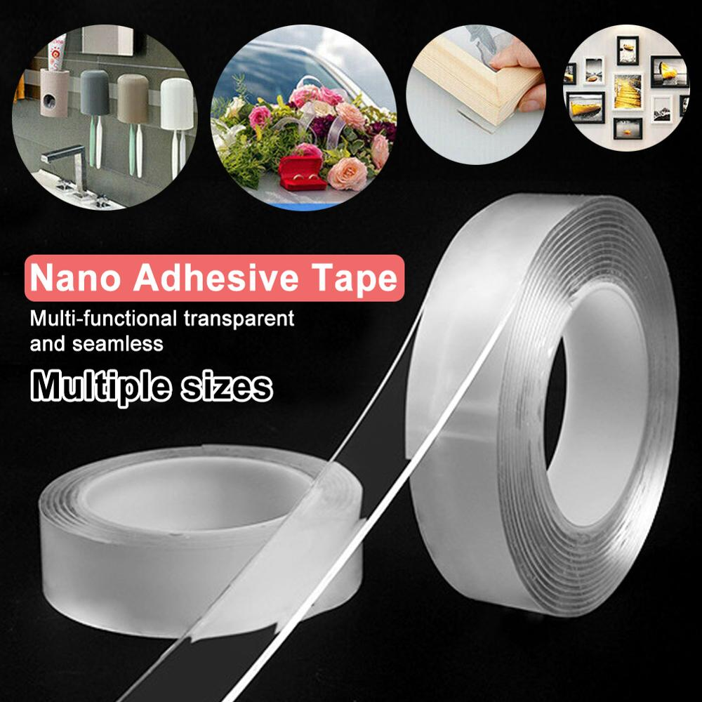 2019 Hot Sale Reusable Double-Sided Adhesive Nano Tape Washable Traceless Removable Sticker Invisible Gel Tape 1/2/3/5m