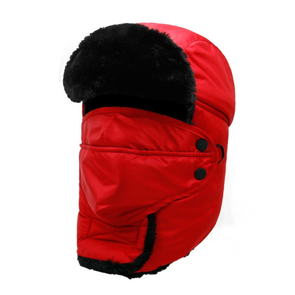 2019 Men's Face Ear Protection Bomber Hat Thicker Windproof Hats Woman Warm Winter Resist Snow Russian Male Cap