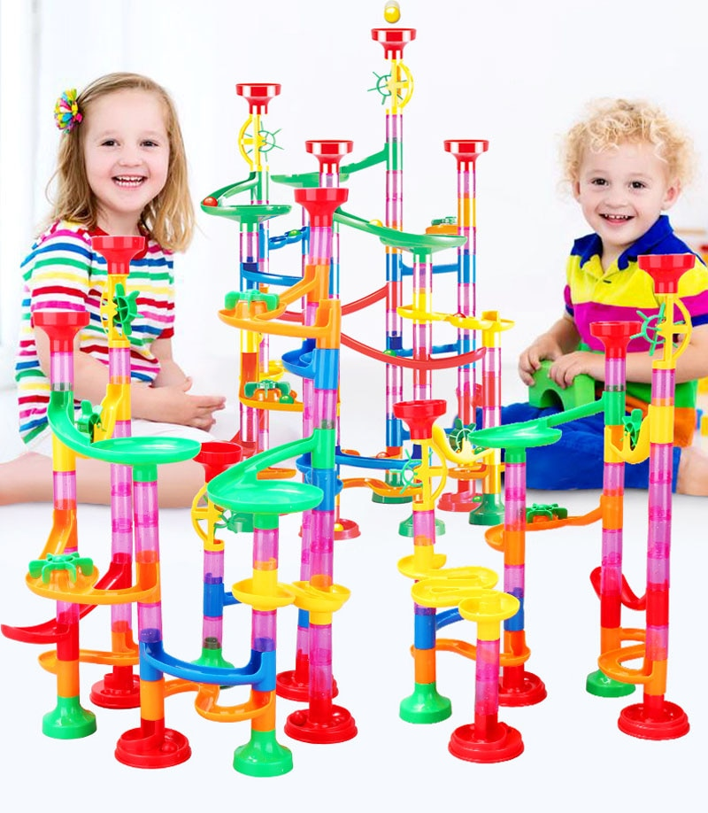 2019 New 109pcs Set DIY Construction Marble Run Race Track Building Blocks Kids Ball Roll Toys Educational Play Set Gift