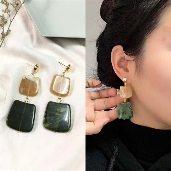 2019 New Hot Fashion Geometric Square Earrings Brincos Oorbellen Acrylic Connection Pendants Drop Earrings For Women Jewelry