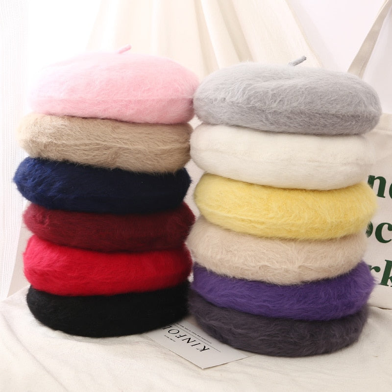2019 autumn and winter light and soft rabbit hair knit fashion temperament wild beret