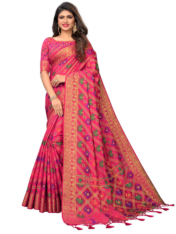 Greeny - Jacquard Cotton Woven Saree With Blouse
