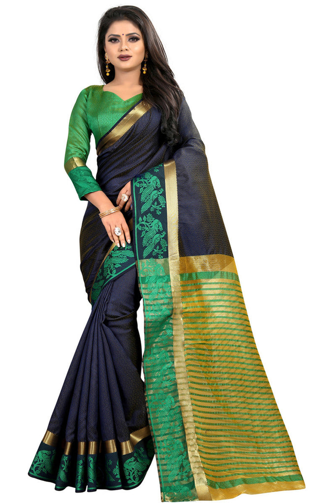 Greeny - Jacquard Silk Woven Saree With Blouse