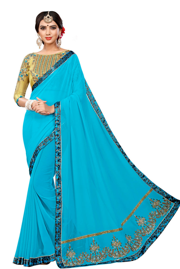 Greeny - Georgette Embroidery Saree With Blouse