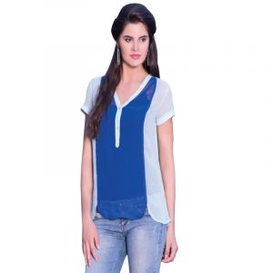 Viva N Diva Blue & Off White Colored Georgette Top