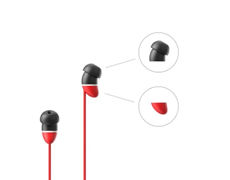 Allocacoc earBeans Bass AUX; RED with MIC