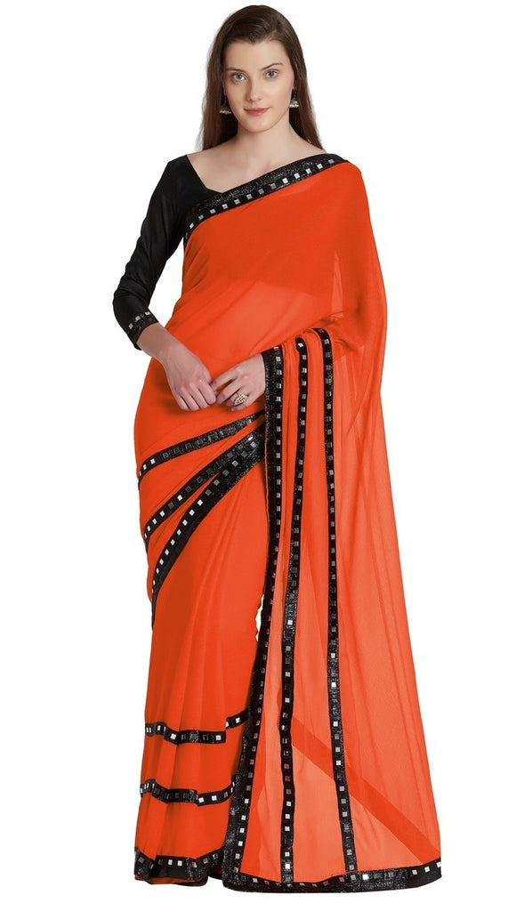 Chiffon Mirror Work Saree With Blouse