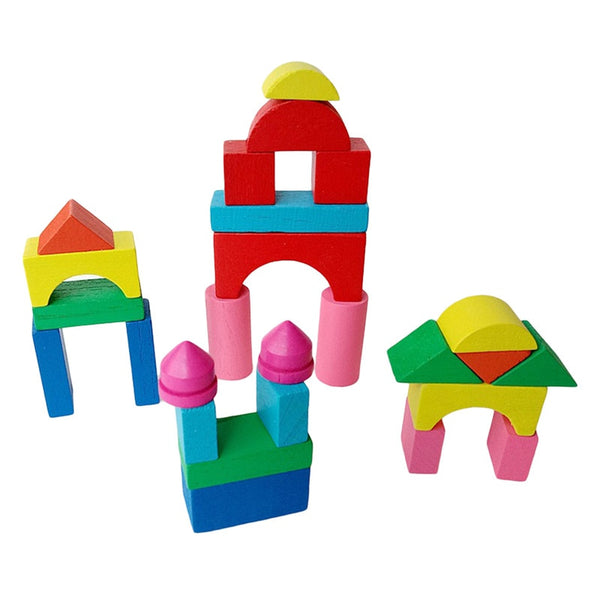 26pcs/set Wooden Kid Mini Castle Building Blocks Geometric Shape Educational Toys Game Environment Friendly