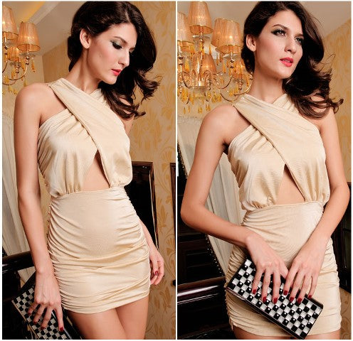 Free Size Beige Sexy Dress For Women