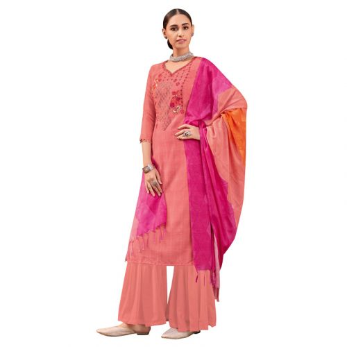 Viva N Diva Peach Colored Muslin Silk Salwar Suit
