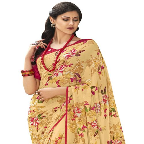Viva N Diva Yellow Colored Georgette Foil Printed Saree