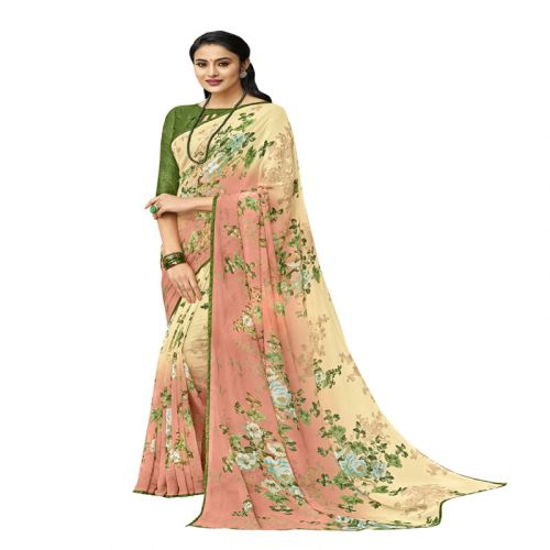 Viva N Diva Shaded Cream & Beige Colored Georgette Foil Printed Saree