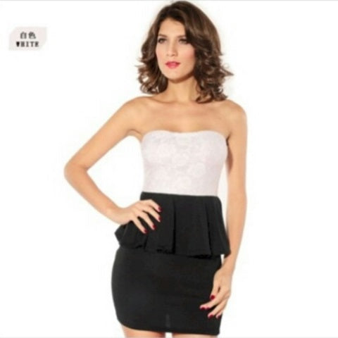 Free Size Black & White Short Dress For Women